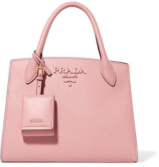 Prada Textured-leather Tote - Antique rose
