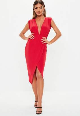 Missguided Red Wrap Plunge Sleeveless Midi Dress