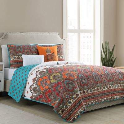 Vcny Home VCNY Home Adelia Damask Reversible Full/Queen Quilt Set in Spice