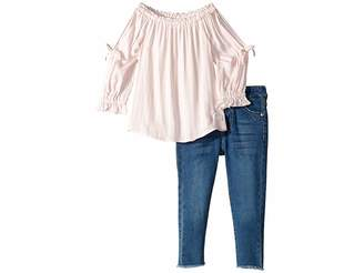 7 For All Mankind Kids Two-Piece Set Challis Stripe Off Shoulder Top and Medium Wash Denim Jeans (Toddler)
