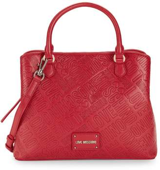 Love Moschino Embossed Faux Leather Satchel