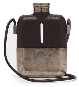 Saint Laurent Logo Engraved Leather Hip Flask - Mens - Black