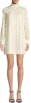 Milly Sherie Long-Sleeve Metallic Silk Chiffon Dress