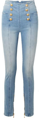 Balmain Button-embellished High-rise Skinny Jeans - Blue