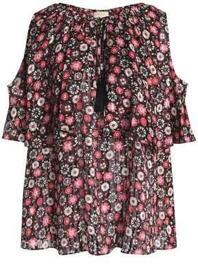 Kate Spade Cold-Shoulder Floral-Print Silk-Jacquard Blouse