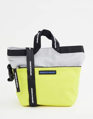 House of Holland color block shopper with cross body strap