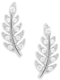 Tai Pave Leaf Stud Earrings