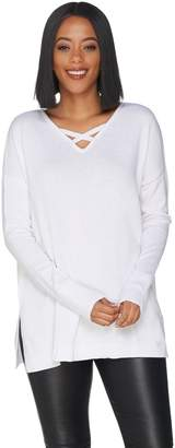 Halston H By H by Crisscross V-Neck Pullover Sweater