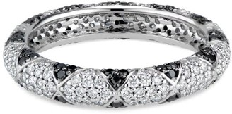 Black Diamond Ri Noor Lotus Eternity Band With Petals & Pave Diamonds