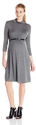 Three Seasons Maternity Women's 3/4 Sleeve Mock Solid Dress