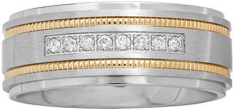 MODERN BRIDE Mens Two-Tone Stainless Steel 1/7 CT. T.W. Diamond Wedding Band