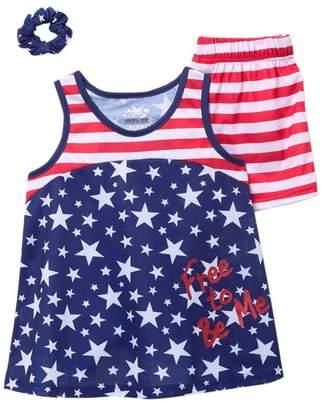 Americana Sleep On It Scrunchie, Tank, & Shorts PJ Set (Big Girls)
