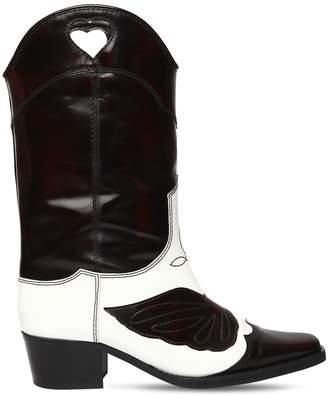 Ganni 50mm Marlyn Shiny Leather Cowboy Boots