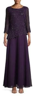 J Kara Quarter-Sleeve Asymmetric Dress