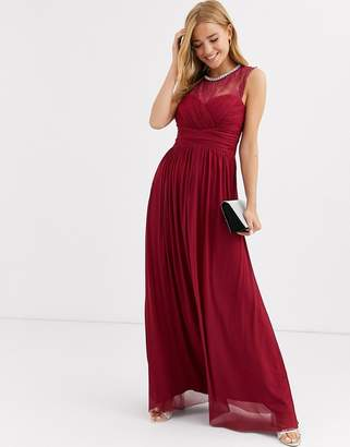 Lipsy ruched maxi dress with lace yolk and embellished neck in berry