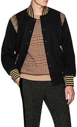 Needles Men's Leopard-Inset Wool-Blend Varsity Jacket - Black