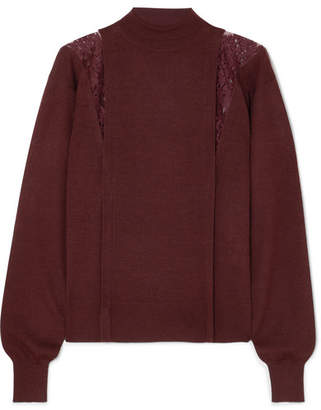 Chloé Lace-paneled Wool And Silk-blend Turtleneck Sweater - Burgundy