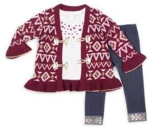 Little Lass Baby Girl's & Little Girl's Three-Piece Jacquard Sweater, Heart-Print Top & Denim Leggings