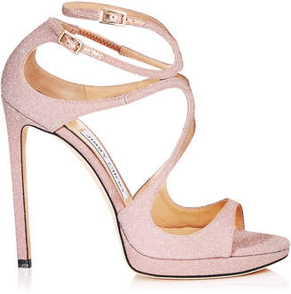 Jimmy Choo LANCE/PF 120 Ballet Pink Fine Glitter Fabric Sandals