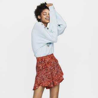 Maje Printed ruffled shorts