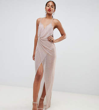 Asos Tall DESIGN Tall metallic sheer maxi dress