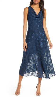 Eliza J Cowl Neck Jacquard Midi Dress
