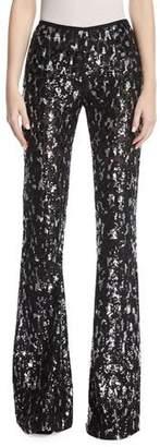 Michael Kors Sequined Leopard Tulle Flare-Leg Pants