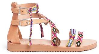 MABU by Maria BK 'Cassie' ethnic embroidered coin charm leather sandals