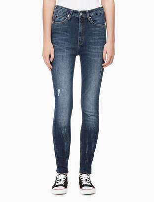 Calvin Klein skinny high rise raw ankle jeans
