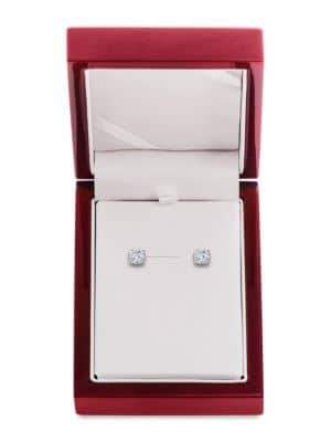 Lord & Taylor Diamond and 14K White Gold Stud Earrings, 2 TCW