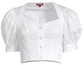 STAUD Women's Rene Puff Sleeve Cotton Blouse - Size 0