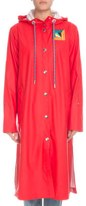 PSWL Hooded Snap-Front Long Raincoat