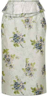 Brock Collection Sylvi Ruffled Floral-print Silk-jacquard Midi Skirt - Light blue