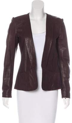 Theory Leather Open Front Jacket