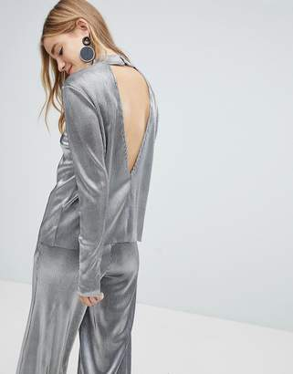 Pieces Metallic High Neck Top With Deep V Back