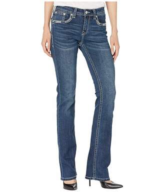 Grace in LA Mid-Rise Bootcut Border Embellished Jeans in Dark Blue