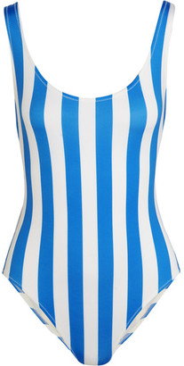 Solid and Striped - The Anne-marie Striped Swimsuit - Azure $170 thestylecure.com