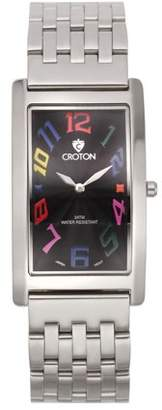 "Croton Men's ""Aristocrat"" Silvertone Curved Rectangular Stainless Bracelet Watch with Black Dial"