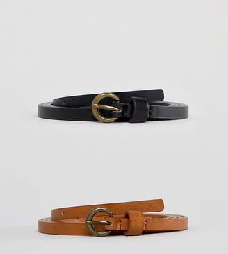c672671d6ea Asos DESIGN Curve 2 pack super skinny vintage look waist and hip belt