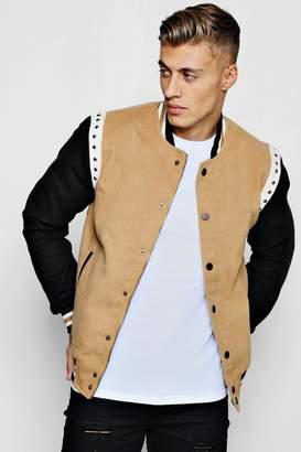 boohoo Dele Stud Detailing Wool Look Bomber Jacket