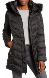 Kenneth Cole New York Faux Fur Trim Puffer Jacket