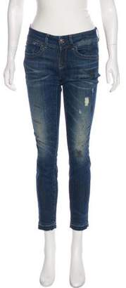 G Star Mid-Rise Distressed Jeans