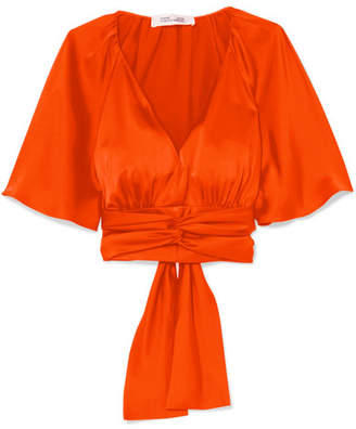 Diane von Furstenberg Cape-effect Satin Blouse - Orange