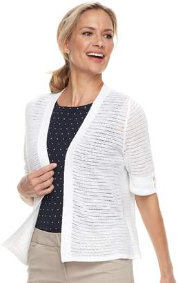 Croft & Barrow Women's Textured Crop Cardigan Sweater