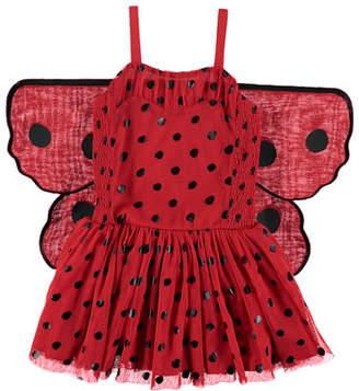Stella McCartney Ladybug Tulle Sleeveless Dress w/ 3D Wings, Size 4-10
