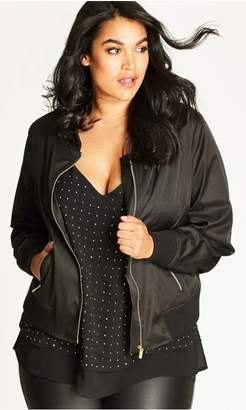 City Chic Citychic Black and Gold Silky Biker Jacket