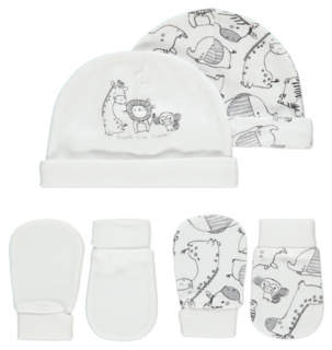 e735ca9a7d8 George White Animal Print Hat and Scratch Mitts 2 Pack