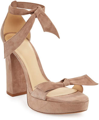 Alexandre Birman Mabeleh Suede 110mm Platform Sandals, Neutral