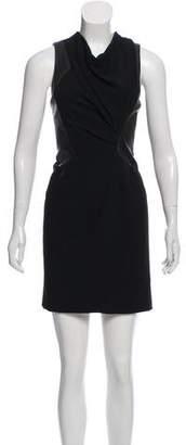 Helmut Lang Leather-Paneled Wool Dress