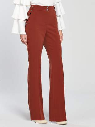 Very Button Detail Slim Flare Trouser